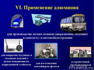 VI. Применение алюминия для производства легких сплавов (дюралюмин, силумин) в с