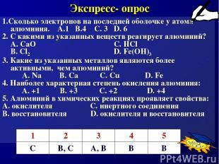 Экспресс- опрос 1.Сколько электронов на последней оболочке у атома алюминия. А.1