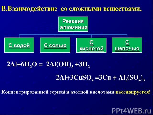 2Al+3CuSO4 =3Cu + Al2(SO4)3 2Al+6Н2O = 2Al(OH)3 +3H2 Концентрированной серной и азотной кислотами пассивируется! В.Взаимодействие со сложными веществами.