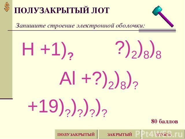 ПОЛУЗАКРЫТЫЙ ЛОТ ИТОГИ ЗАКРЫТЫЙ ПОЛУЗАКРЫТЫЙ Запишите строение электронной оболочки: Н +1)? ?)2)8)8 Al +?)2)8)? +19)?)?)?)? 80 баллов