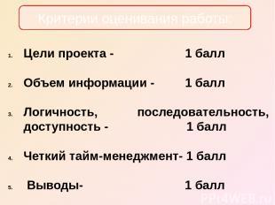Цели проекта - 1 балл Объем информации - 1 балл Логичность, последовательность,