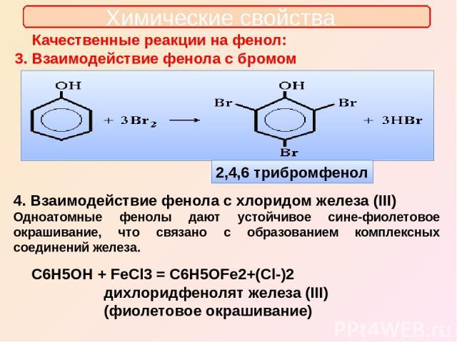Химические свойства Качественные реакции на фенол: 3. Взаимодействие фенола с бромом