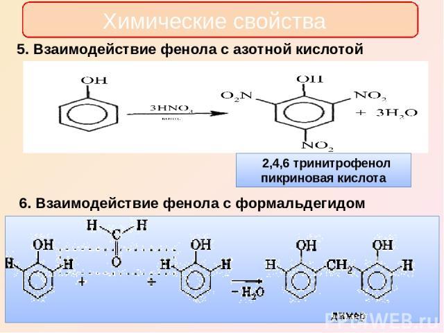 Химические свойства 5. Взаимодействие фенола с азотной кислотой 6. Взаимодействие фенола с формальдегидом
