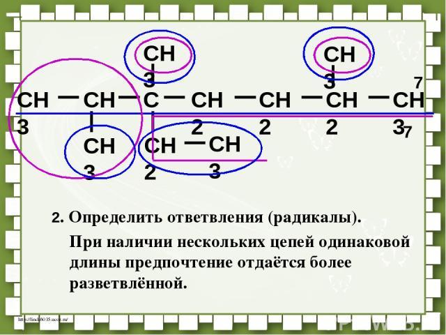 CH3 CH C CH2 CH2 CH3 CH3 CH3 CH2 CH3 CH3 CH2 7 7 2. Определить ответвления (радикалы). При наличии нескольких цепей одинаковой длины предпочтение отдаётся более разветвлённой. http://linda6035.ucoz.ru/