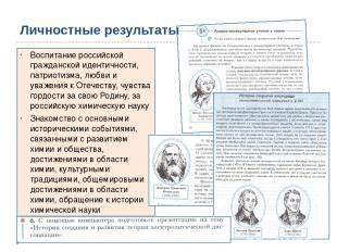 Личностные результаты Воспитание российской гражданской идентичности, патриотизм