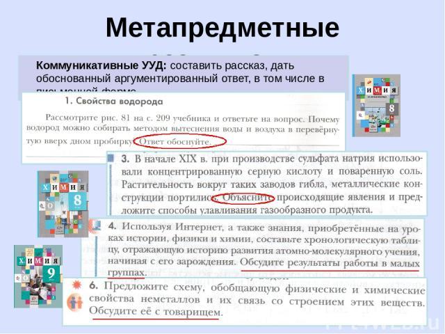 Метапредметные результаты Коммуникативные УУД: составить рассказ, дать обоснованный аргументированный ответ, в том числе в письменной форме