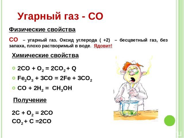 2CO + O2 = 2CO2 + Q Fe2O3 + 3CO = 2Fe + 3CO2 CO + 2H2 = CH3OH Угарный газ - СО СО – угарный газ. Оксид углерода ( +2) – бесцветный газ, без запаха, плохо растворимый в воде. Ядовит! Физические свойства Химические свойства Получение 2C + O2 = 2CO CO2…