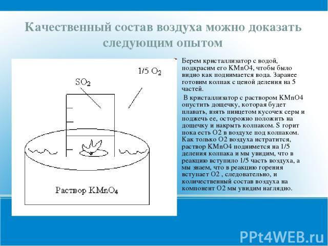 Качественный состав воздуха можно доказать следующим опытом Берем кристаллизатор с водой, подкрасим его KMnO4, чтобы было видно как поднимается вода. Заранее готовим колпак с ценой деления на 5 частей. В кристаллизатор с раствором KMnO4 опустить дощ…