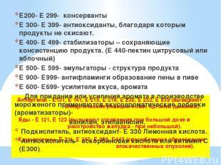Аллергены - Е131, Е 141, Е 215, Е 218, Е 230, Е 232, Е 239 (вызывают аллергическ