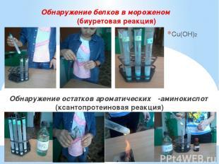 Обнаружение белков в мороженом (биуретовая реакция) Cu(OH)2 Обнаружение остатков
