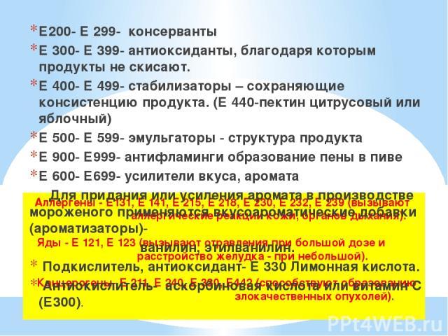 Аллергены - Е131, Е 141, Е 215, Е 218, Е 230, Е 232, Е 239 (вызывают аллергические реакции кожи, органов дыхания). Яды - Е 121, Е 123 (вызывают отравления при большой дозе и расстройство желудка - при небольшой). Канцерогены- Е 211, Е 240, Е 330, Е4…