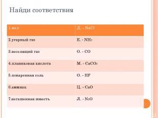 Найди соответствия 1.мел Д.-NaCl 2.угарный газ Е.-NH3 3.веселящий газ О.-CO 4.пл