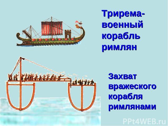 Трирема- военный корабль римлян Захват вражеского корабля римлянами
