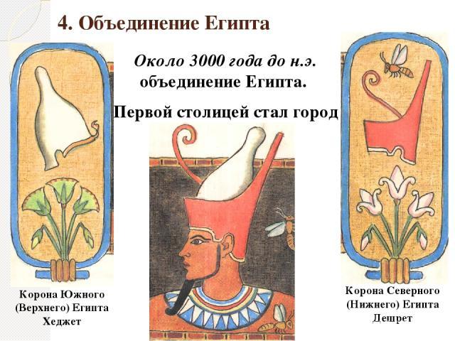 4. Объединение Египта Около 3000 года до н.э. объединение Египта. Первой столицей стал город Мемфис. Корона Южного (Верхнего) Египта Хеджет Корона Северного (Нижнего) Египта Дешрет