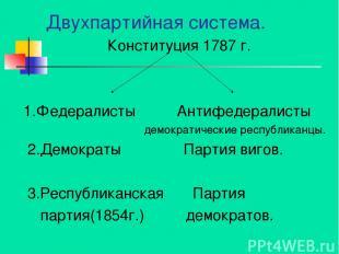 Двухпартийная система. Конституция 1787 г. 1.Федералисты Антифедералисты демокра