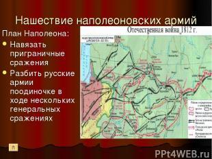 Нашествие наполеоновских армий План Наполеона: Навязать приграничные сражения Ра