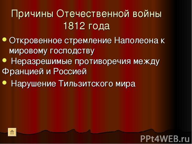 Причины Отечественной войны 1812 года Откровенное стремление Наполеона к мировому господству Неразрешимые противоречия между Францией и Россией Нарушение Тильзитского мира