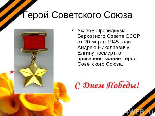 Герой Советского Союза Указом Президиума Верховного Совета СССР от 20 марта 1945 года Андрею Николаевичу Елгину посмертно присвоено звание Героя Советского Союза.