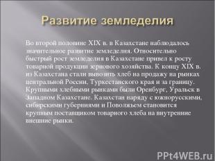 Во второй половине XIX в. в Казахстане наблюдалось значительное развитие земледе