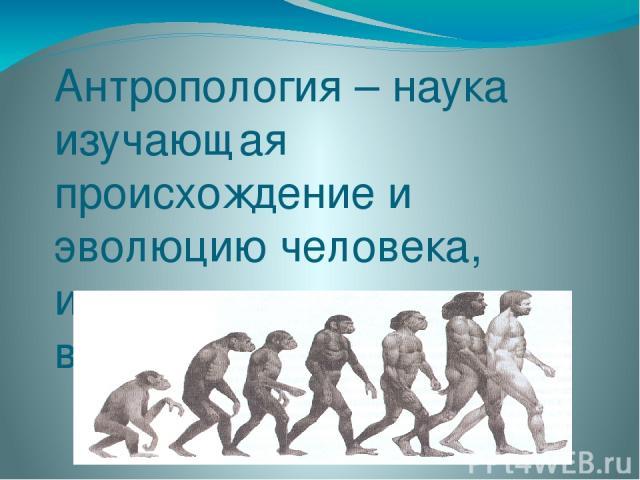 Антропология – наука изучающая происхождение и эволюцию человека, изменение его внешнего вида