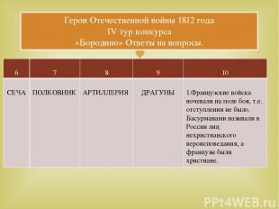 Герои Отечественной войны 1812 года IV тур конкурса «Бородино» Ответы на вопросы