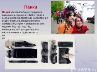 Панки Панки как молодёжное движение возникло в середине 1970-х годов в США и в В