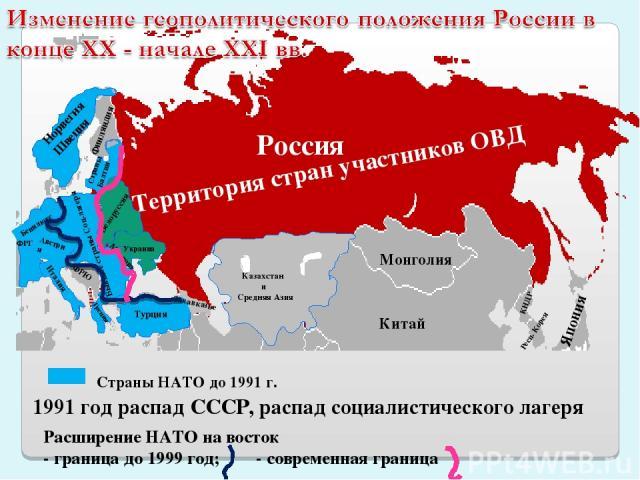 Территория стран участников ОВД Россия Казахстан и Средняя Азия Австрия Страны НАТО до 1991 г. 1991 год распад СССР, распад социалистического лагеря