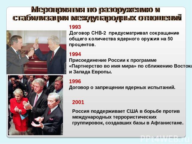 1993 Договор СНВ-2 предусматривал сокращение общего количества ядерного оружия на 50 процентов. 1994 Присоединение России к программе «Партнерство во имя мира» по сближению Востока и Запада Европы. 1996 Договор о запрещении ядерных испытаний. 2001 Р…