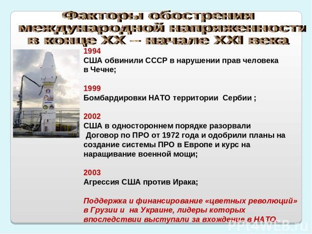 1994 США обвинили СССР в нарушении прав человека в Чечне; 1999 Бомбардировки НАТО территории Сербии ; 2002 США в одностороннем порядке разорвали Договор по ПРО от 1972 года и одобрили планы на создание системы ПРО в Европе и курс на наращивание воен…