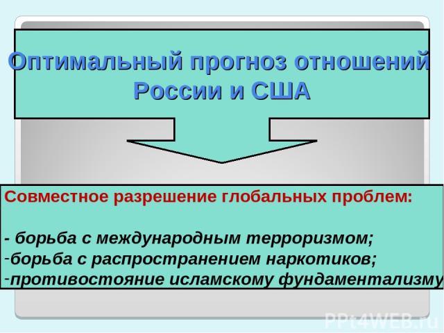 Оптимальный прогноз отношений России и США Совместное разрешение глобальных проблем: - борьба с международным терроризмом; борьба с распространением наркотиков; противостояние исламскому фундаментализму