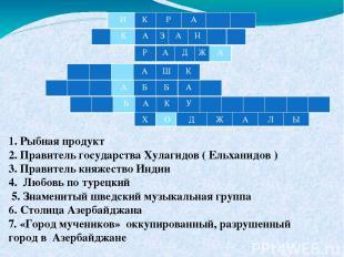 1. Рыбная продукт 2. Правитель государства Хулагидов ( Ельханидов ) 3. Правитель