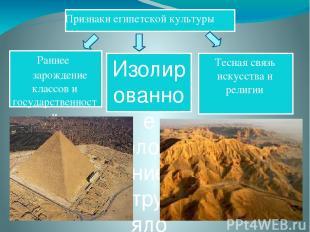 Изолированное положение затрудняло влияние извне Признаки египетской культуры Те