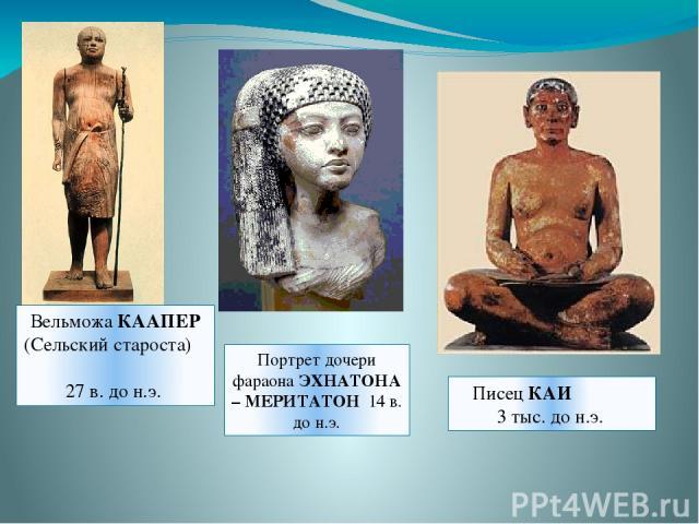 Вельможа КААПЕР (Сельский староста) 27 в. до н.э. Портрет дочери фараона ЭХНАТОНА – МЕРИТАТОН 14 в. до н.э. Писец КАИ 3 тыс. до н.э.