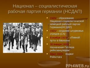 Национал – социалистическая рабочая партия германии (НСДАП) 1920г.- образование