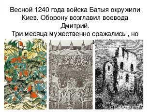 Весной 1240 года войска Батыя окружили Киев. Оборону возглавил воевода Дмитрий.