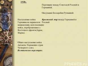 Перемирие между Советской Россией и Германией. Декабрь 1918г., зима. Оккупация Б