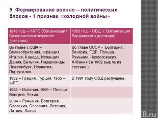 5. Формирование военно – политических блоков - 1 признак «холодной войны» 1949 г