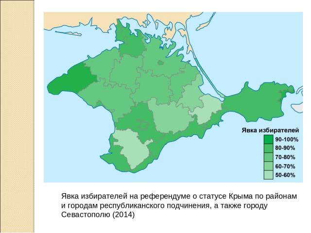 Явка избирателей на референдуме о статусе Крыма по районам и городам республиканского подчинения, а также городу Севастополю (2014)