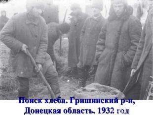 Поиск хлеба. Гришинский р-н, Донецкая область. 1932 год