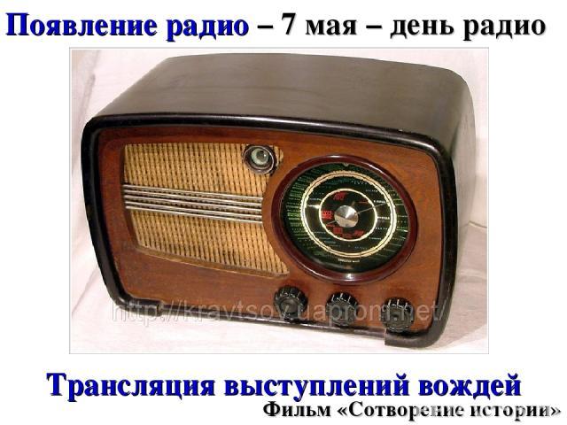 Появление радио – 7 мая – день радио Трансляция выступлений вождей Фильм «Сотворение истории»