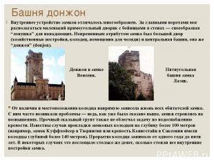 Башня донжон Внутреннее устройство замков отличалось многообразием. За главными