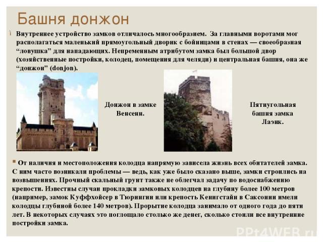 """Башня донжон Внутреннее устройство замков отличалось многообразием. За главными воротами мог располагаться маленький прямоугольный дворик с бойницами в стенах — своеобразная """"ловушка"""" для нападающих. Непременным атрибутом замка был большой двор (хоз…"""