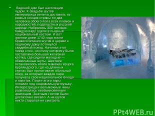 Ледяной дом был настоящим чудом. К свадьбе шутов императрица велела доставить и