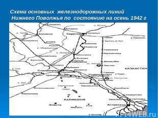 Схема основных железнодорожных линий Нижнего Поволжья по состоянию на осень 1942