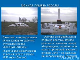 Вечная память героям Памятник и мемориальная плита погибшим рабочим служащим зав
