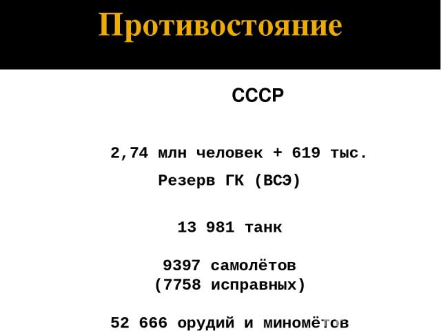 Противостояние СССР 2,74 млн человек + 619 тыс. Резерв ГК (ВСЭ) 13 981 танк 9397 самолётов (7758 исправных) 52 666 орудий и миномётов Противник 4,05 млн человек + 0,85 млн союзники Германии 4215 танков + 402 танка союзников 3909 самолётов + 964 само…