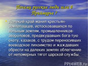 Почему русские люди шли в Приамурье ? Далекий край манил крестьян-землепашцев, и