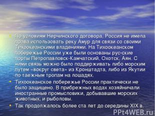 По условиям Нерчинского договора, Россия не имела права использовать реку Амур д