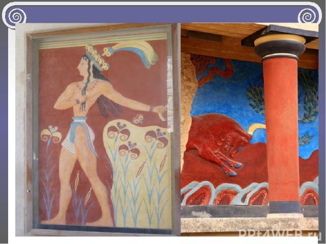 Используя всего 5 красок (чёрную, белую, голубую, жёлтую и красную) художники создали богатейшую цветовую палитру, наполненную жаркими лучами солнца, прозрачной голубизной неба и тёплыми водами Эгейского моря.