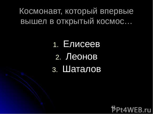 Космонавт, который впервые вышел в открытый космос… Елисеев Леонов Шаталов